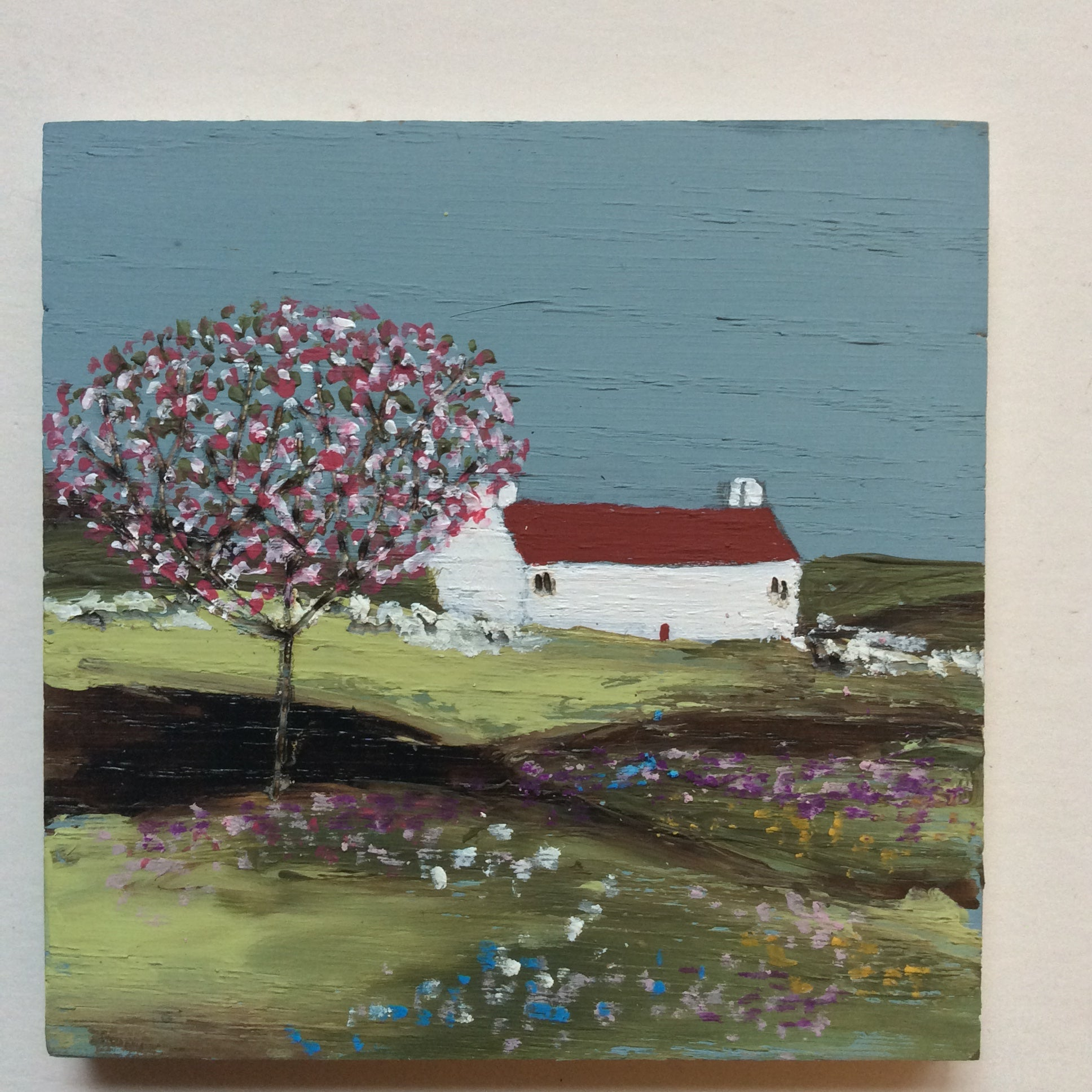 "Mixed Media Art on wood By Louise O'Hara - ""Spring on the meadow"""