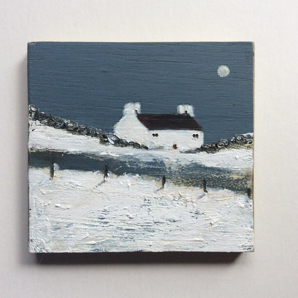 "Mini Mixed Media Art on wood By Louise O'Hara - ""A harsh winter"""