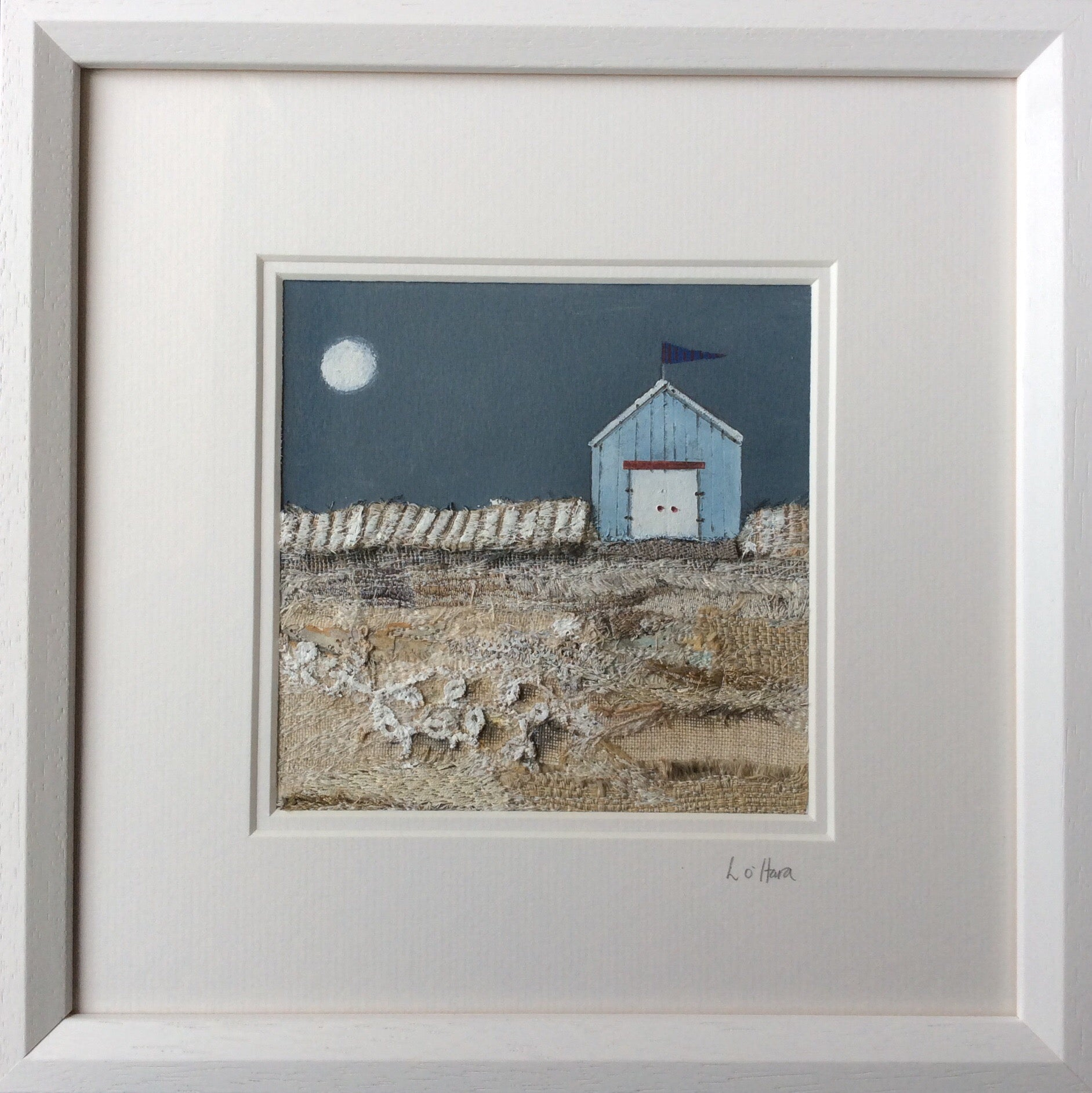 "Mixed Media Art By Louise O'Hara - ""All was calm after a busy day on the beach"""