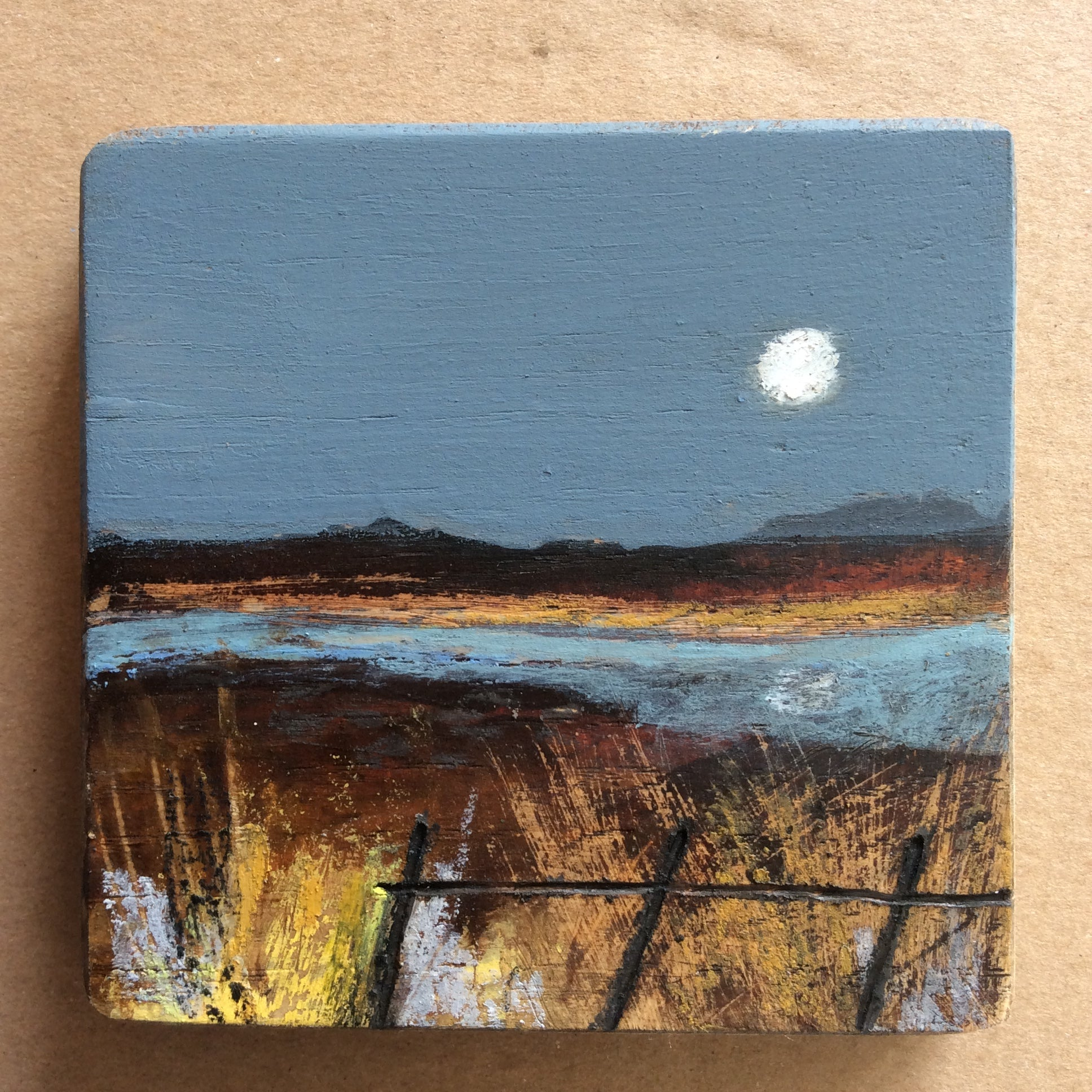 "Mini Mixed Media Art on wood By Louise O'Hara - ""A fallen fence"""