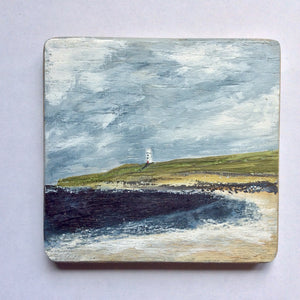 "Mixed Media Art on wood By Louise O'Hara - ""Lighthouse View"""