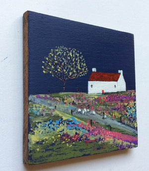 "Mixed Media Art on wood By Louise O'Hara - ""A path to the meadow"""
