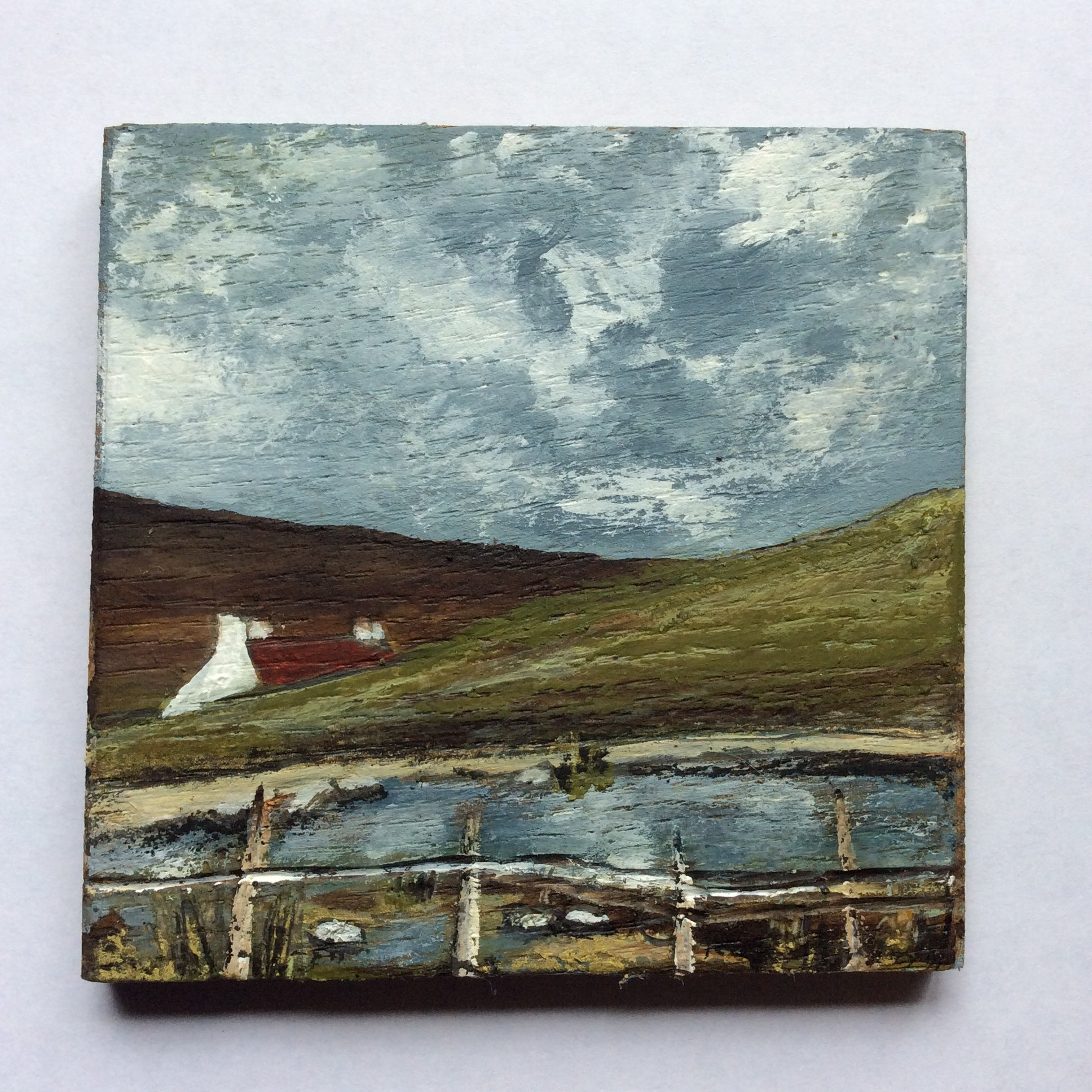 "Mixed Media Art on wood By Louise O'Hara - ""A cottage in the Lakes"""