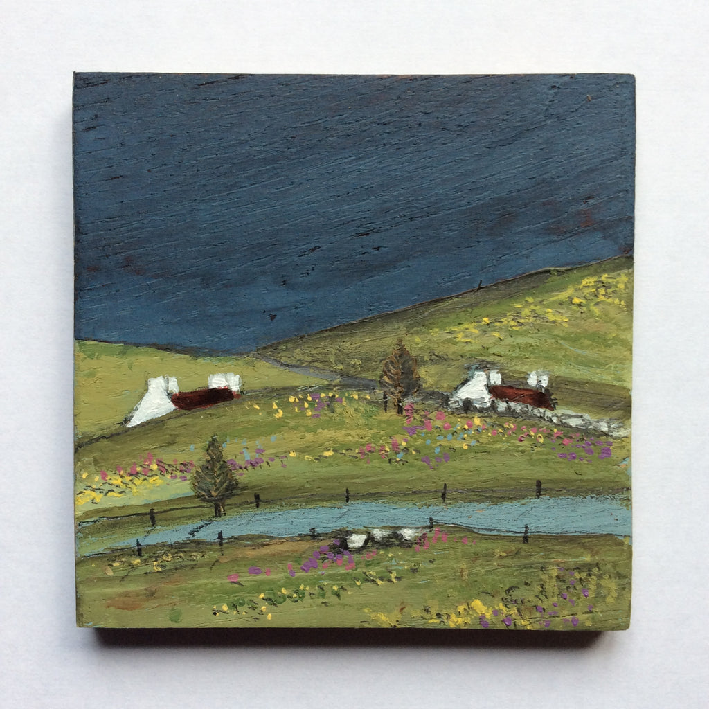 "Mixed Media Art on wood By Louise O'Hara - ""Under the dark sky lay lush green fields"""