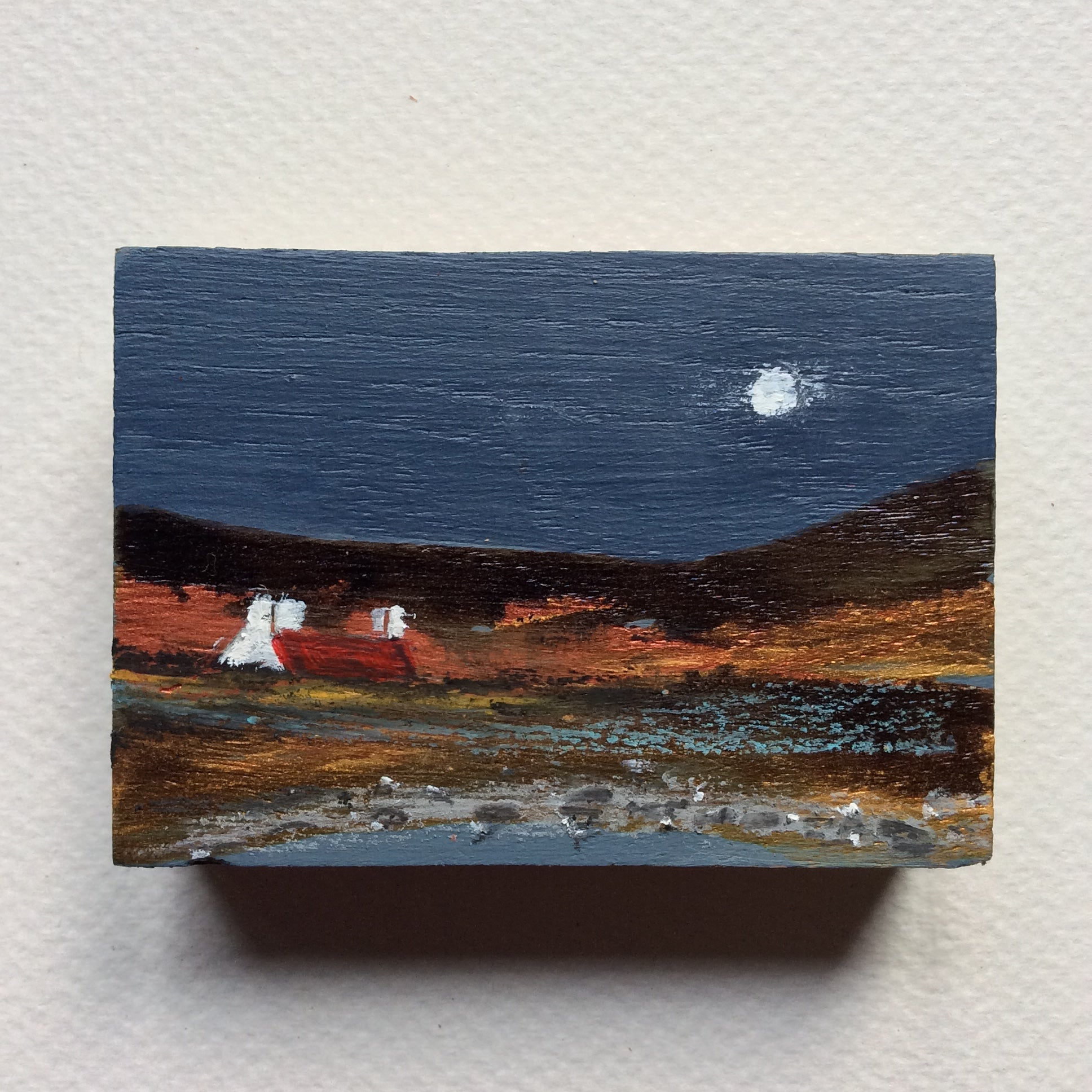 "Miniature Mixed Media Art on wood By Louise O'Hara - ""April Moon"""
