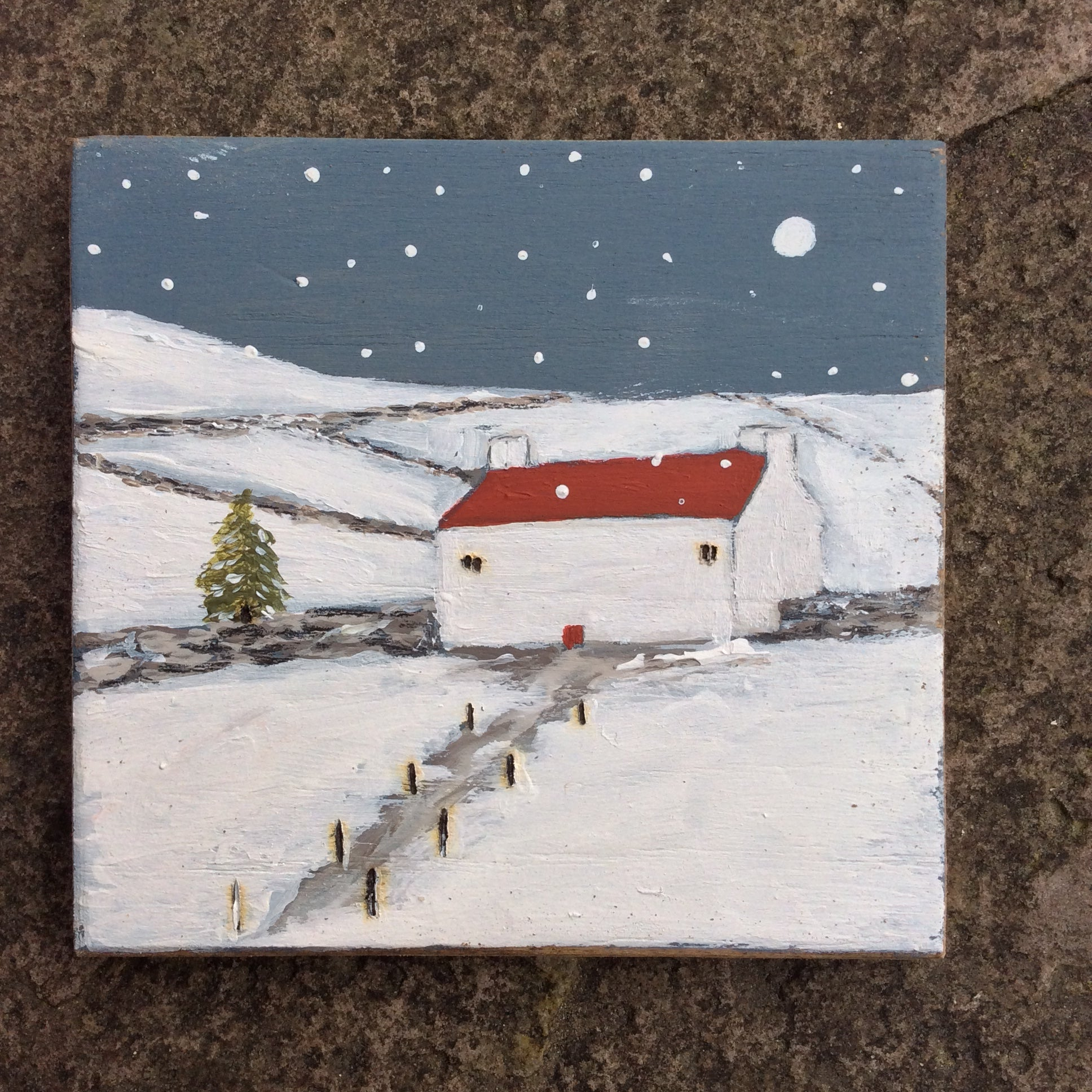 "Mixed Media Art on wood By Louise O'Hara - ""The White Cottage Down Farm lane"""