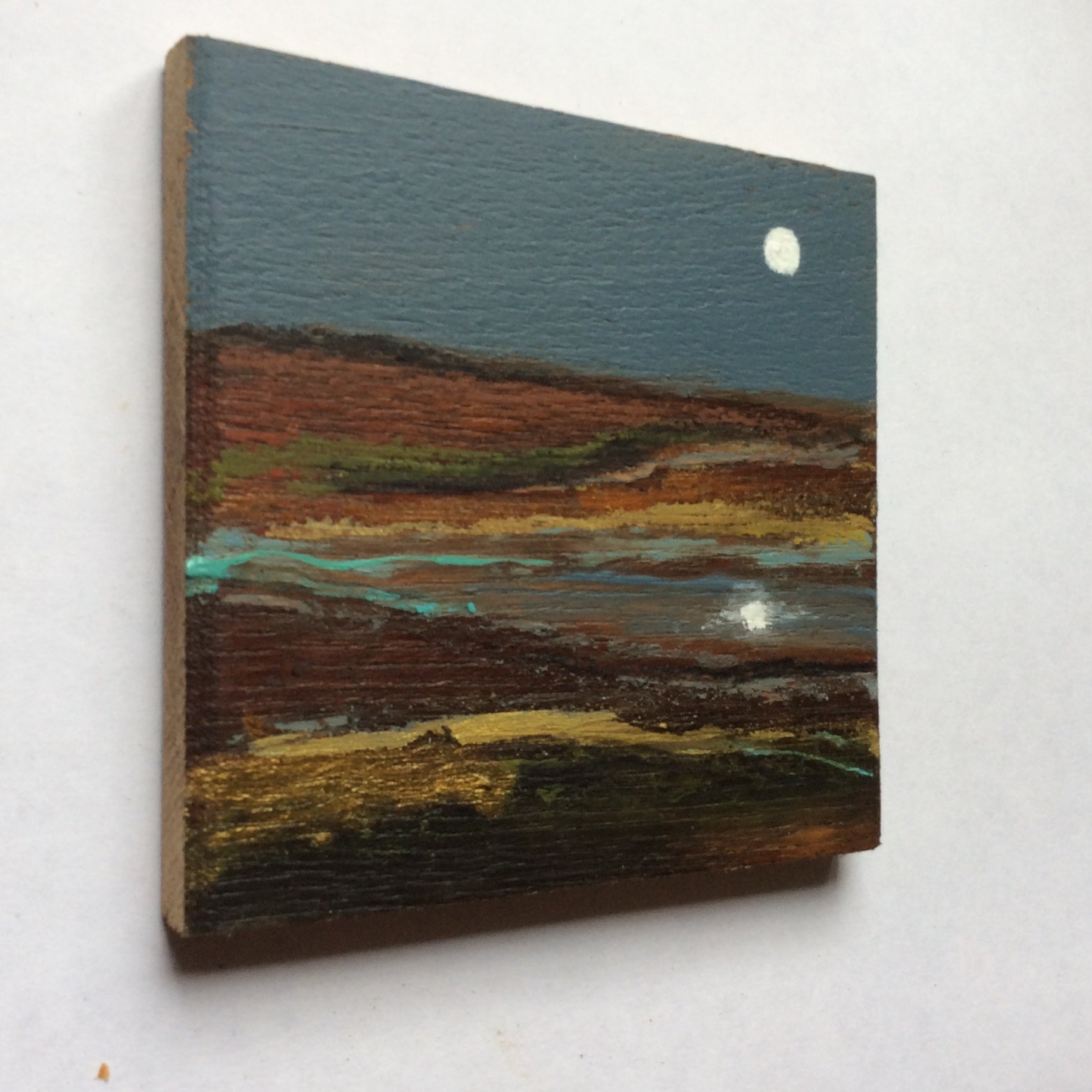 "Mixed Media Art on wood By Louise O'Hara - ""Reflections on an Autumn brook"""