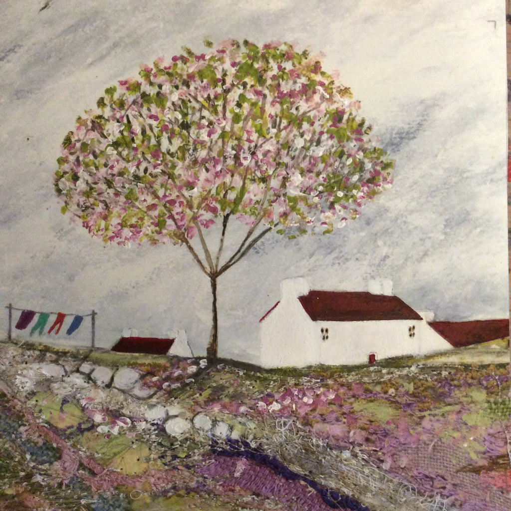 "Mixed Media Art print work by Louise O'Hara ""A line full of washing"""
