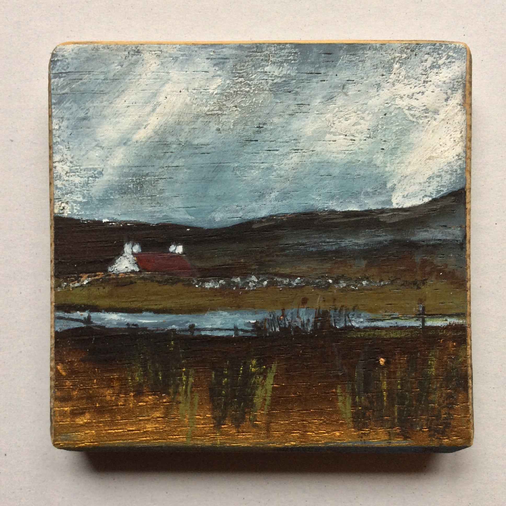"Mini Mixed Media Art on wood By Louise O'Hara - ""A light rain shower"""