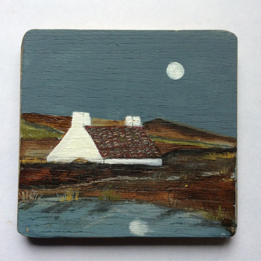 "Mixed Media Art on wood By Louise O'Hara - ""The old Croft house with the red tiled roof"""