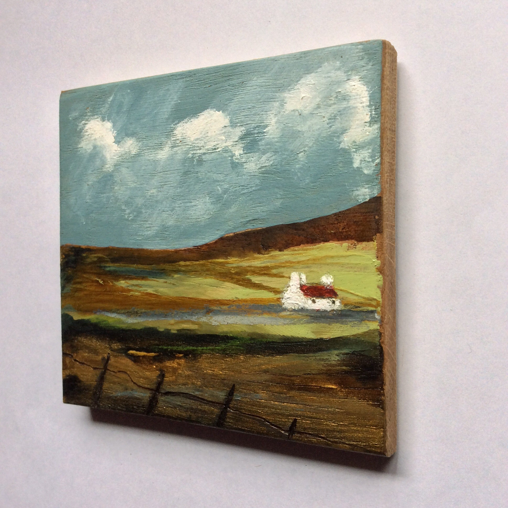 "Mini Mixed Media Art on wood By Louise O'Hara - ""Sunlight Across the plains"""