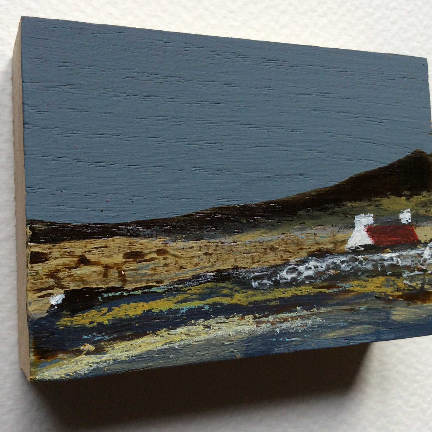"Miniature Mixed Media Art on wood By Louise O'Hara - ""April Breeze"""
