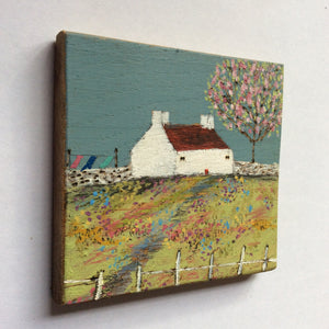 "Mini Mixed Media Art on wood By Louise O'Hara - ""The old picket fence"""