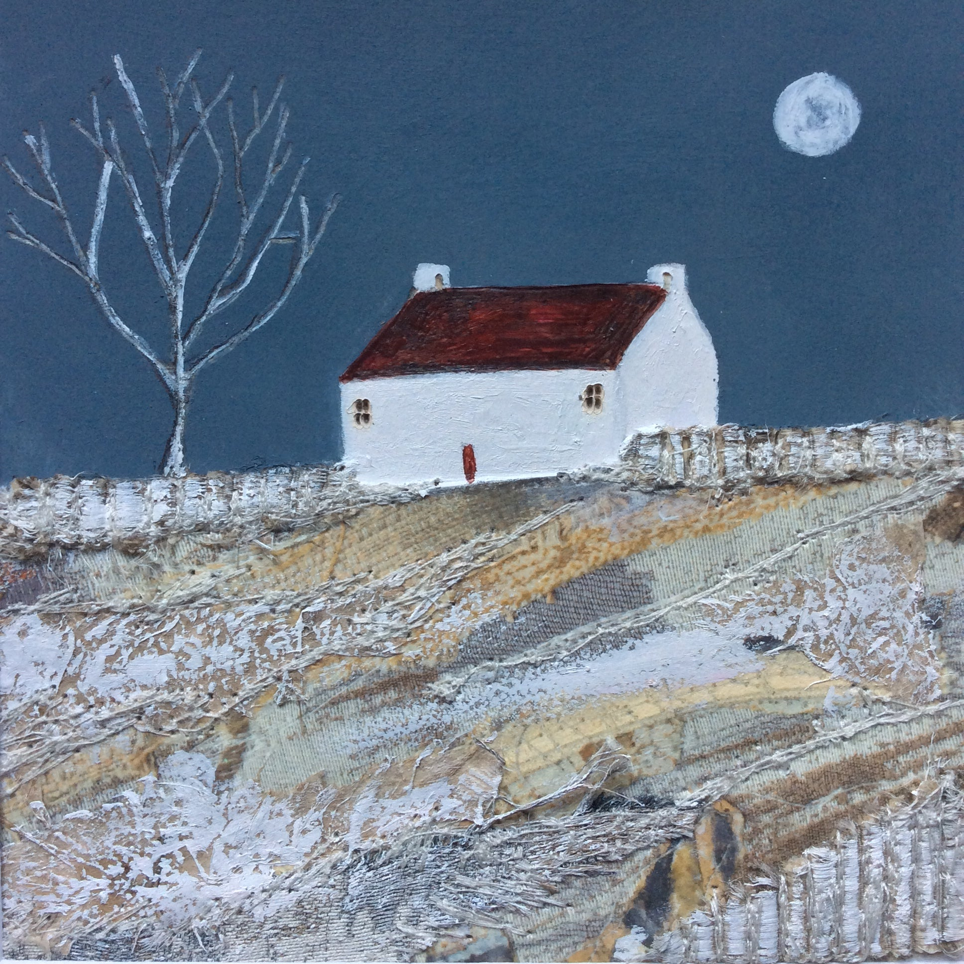 "Mixed Media Art print work by Louise O'Hara ""Lit by the glow of the moon"""
