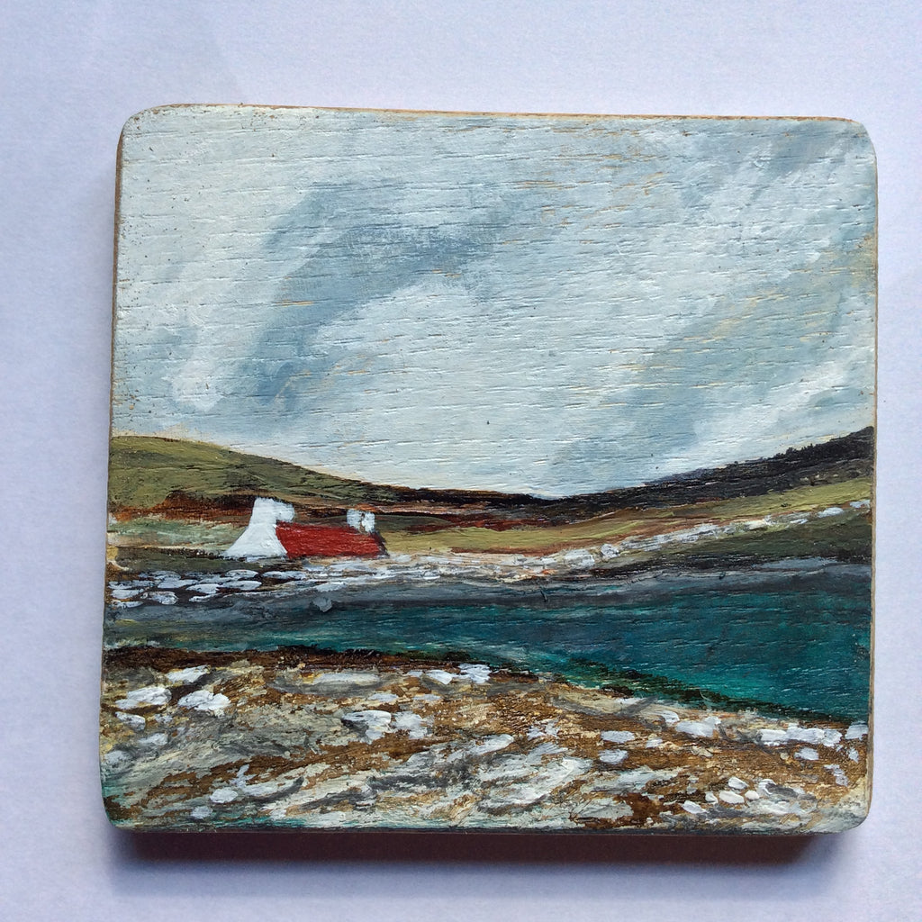 "Mixed Media Art on wood By Louise O'Hara - ""The brook along the croft wall"""