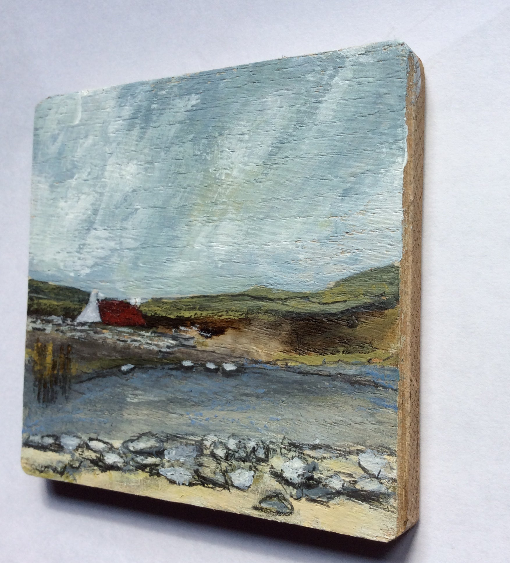 "Mixed Media Art on wood By Louise O'Hara - ""The stepping stones at the old croft"""
