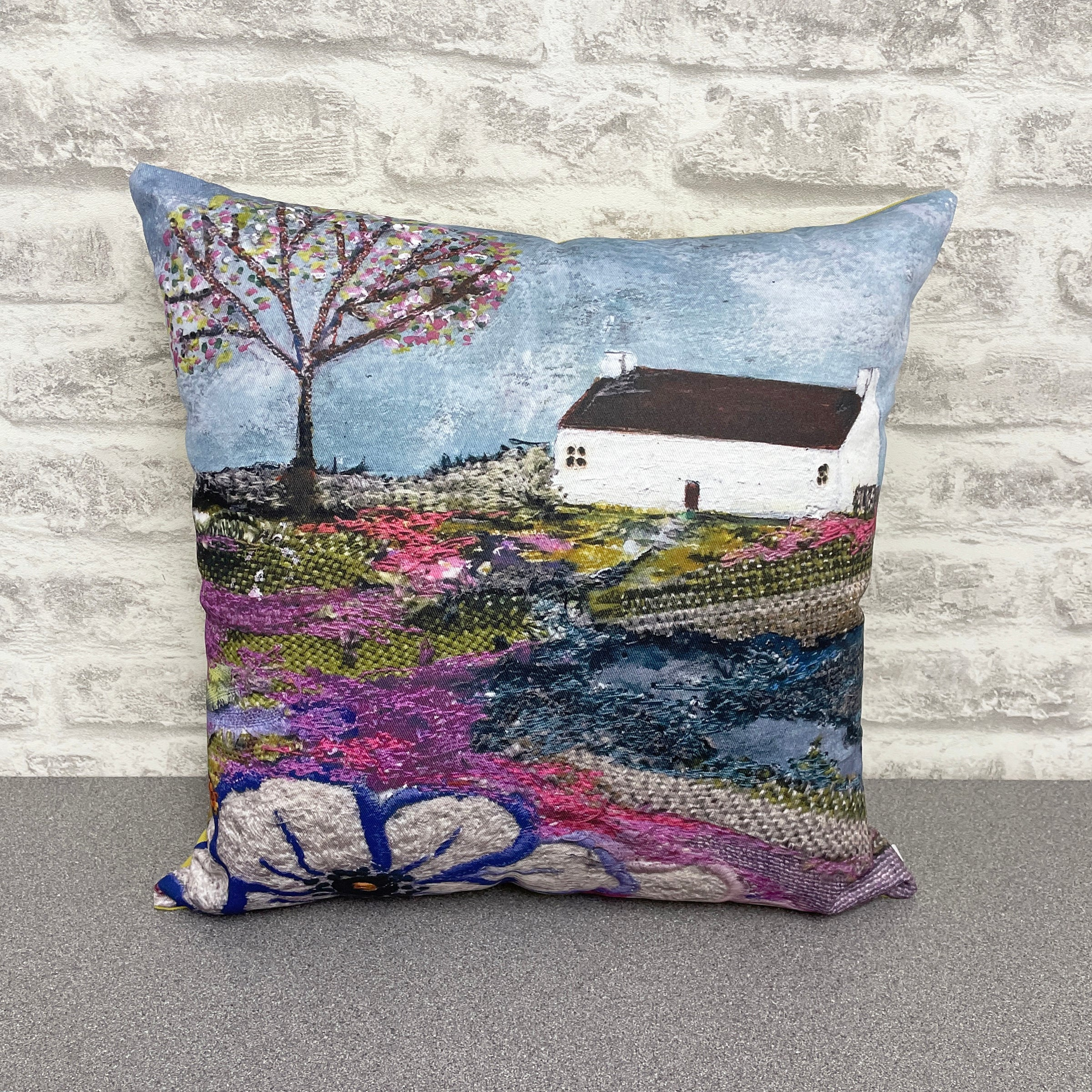 "Homeware - Hand made cushion ""Apple Blossom Cottage"""