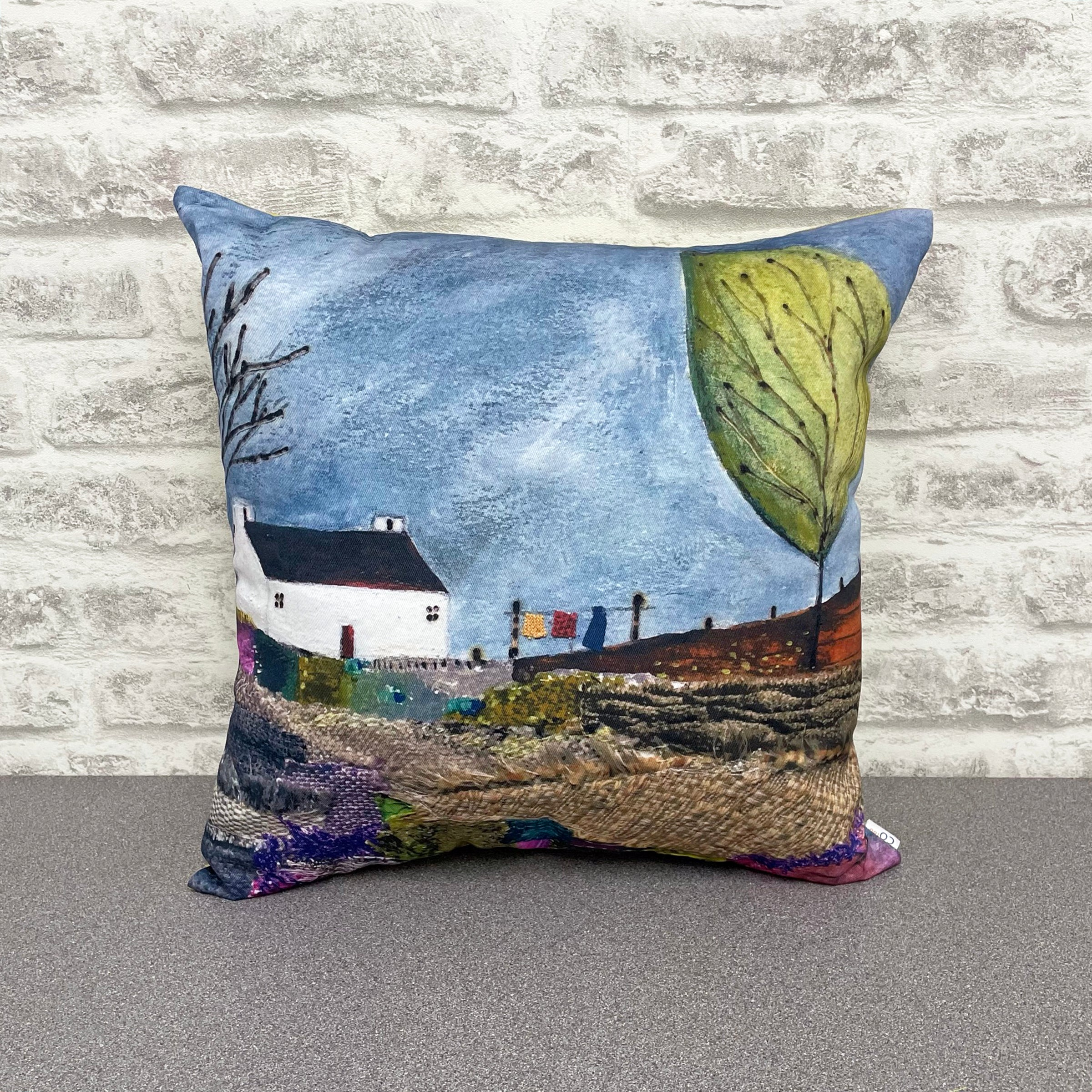 "Homeware - Hand made cushion ""A blustery day at Patchwork Meadow"""