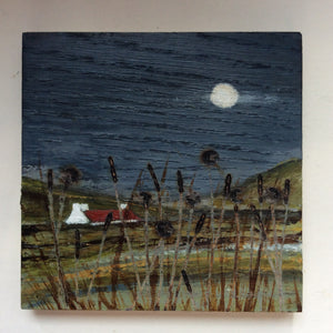 "Mixed Media Art on wood By Louise O'Hara - ""moonlight and brambles"""