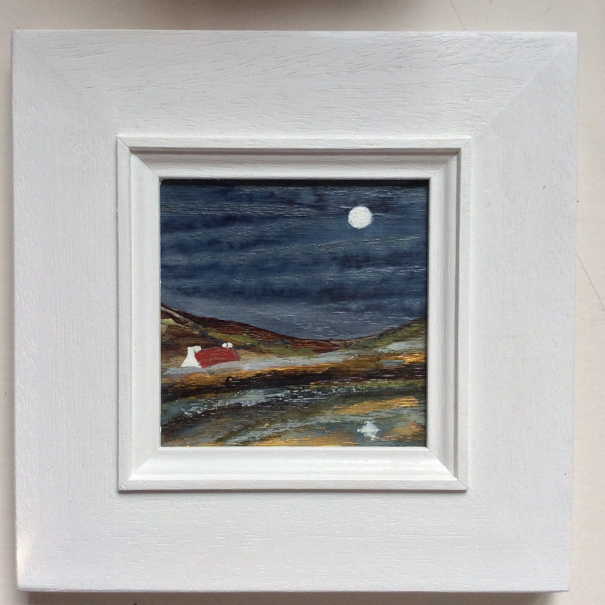 "Mixed Media Art on wood By Louise O'Hara - ""Reflections on the edge of a Tarn"""