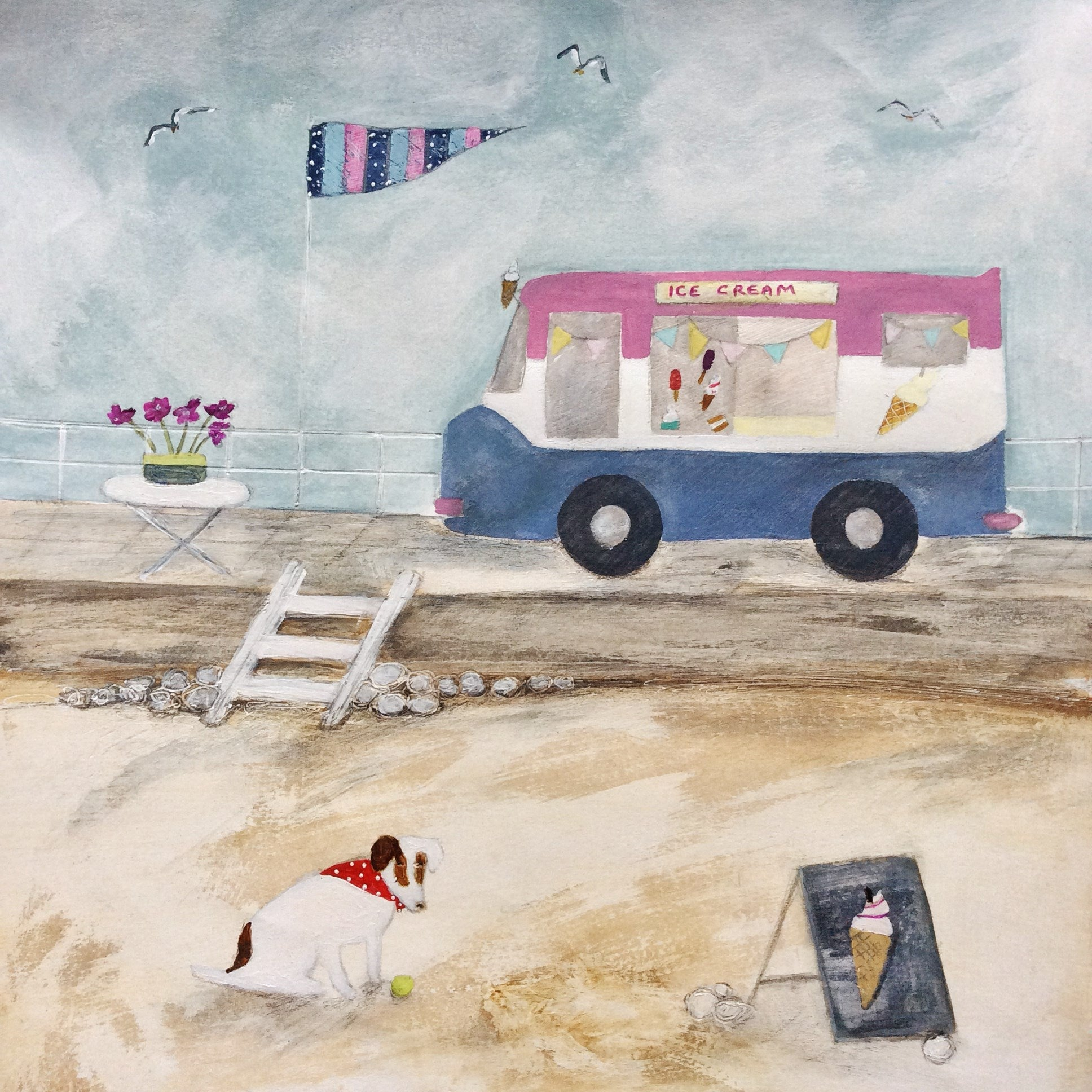 "Archive - Mixed Media Art By Louise O'Hara - ""Waiting for an ice cream"""