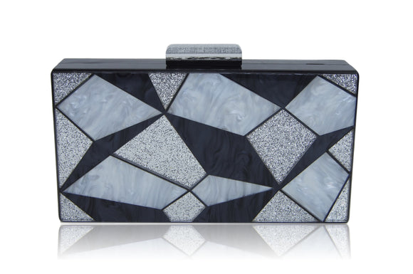 Black Geometric Acrylic Box Clutch - trend-pony