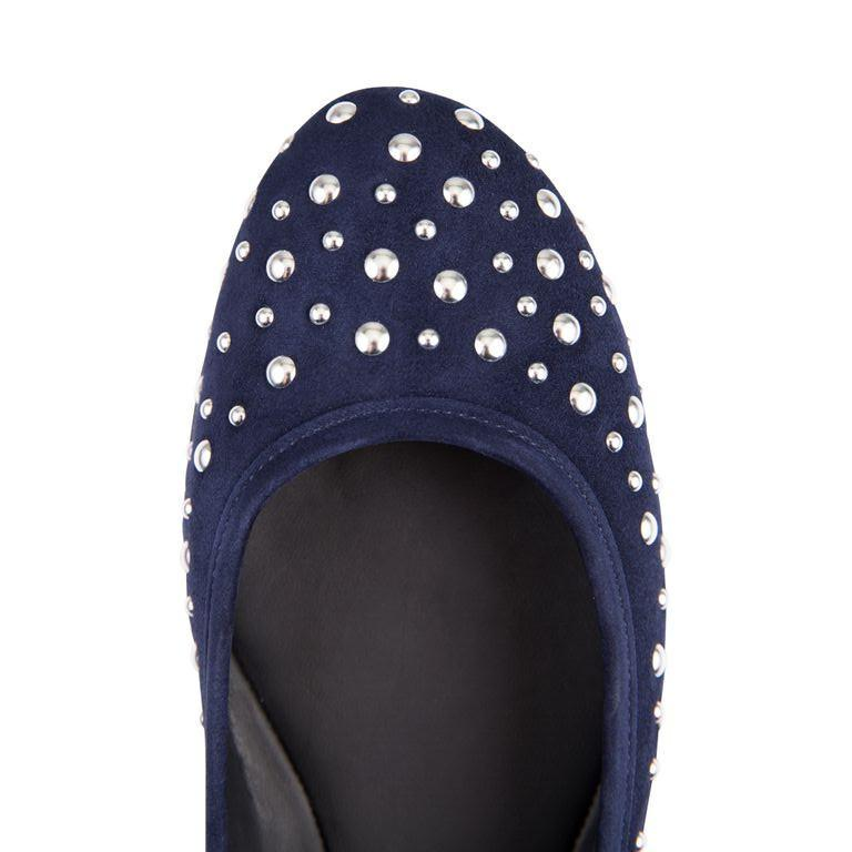 VENEZIA - Velukid Midnight + Big Silver Studs, VIAJIYU - Women's Hand Made Sustainable Luxury Shoes. Made in Italy. Made to Order.