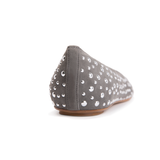 COMO - Velukid Anthracite + Big Silver Studs, VIAJIYU - Women's Hand Made Sustainable Luxury Shoes. Made in Italy. Made to Order.