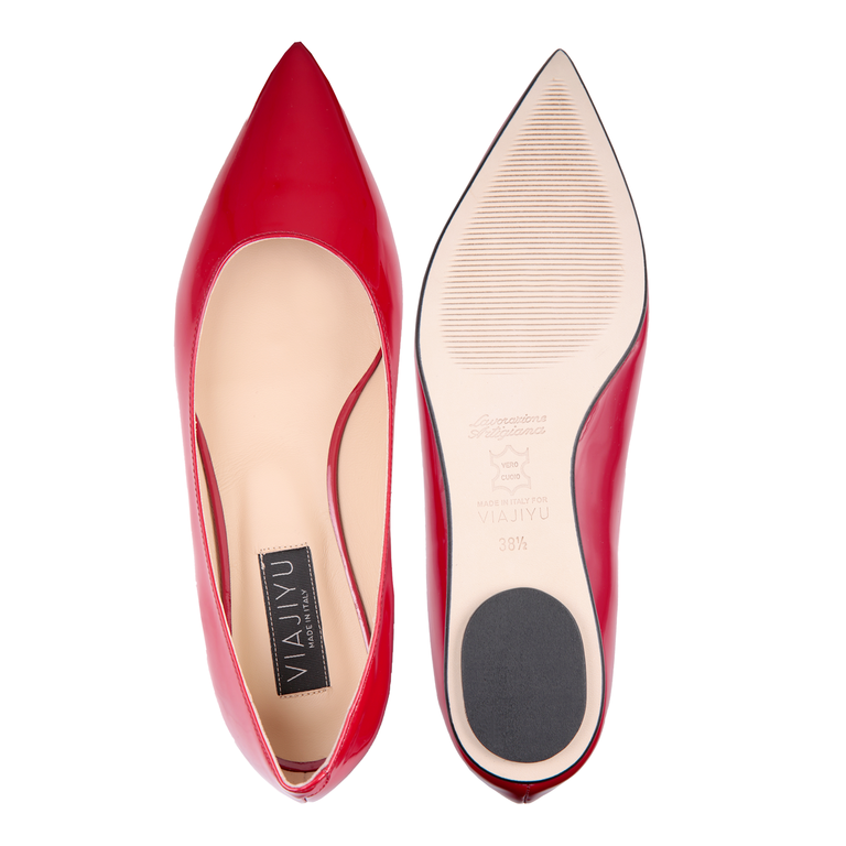 COMO - Patent Rosso, VIAJIYU - Women's Hand Made Sustainable Luxury Shoes. Made in Italy. Made to Order.