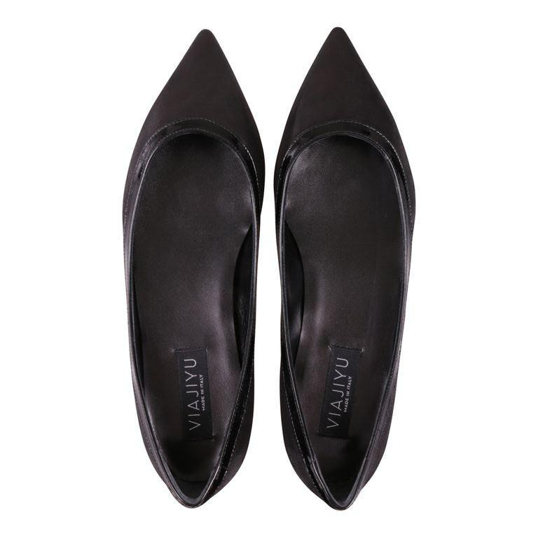 MILANO - Hydra + Patent Nero, VIAJIYU - Women's Hand Made Sustainable Luxury Shoes. Made in Italy. Made to Order.