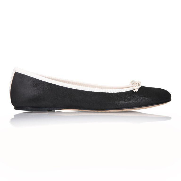 VENEZIA - Hydra Nero + Drawstring Panna Bow, VIAJIYU - Women's Hand Made Sustainable Luxury Shoes. Made in Italy. Made to Order.
