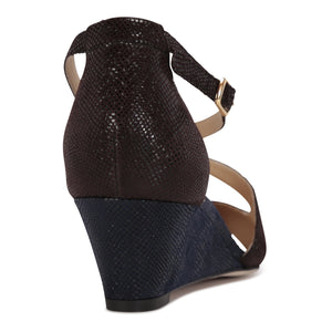 AREZZO - Karung Espresso + Midnight, VIAJIYU - Women's Hand Made Sustainable Luxury Shoes. Made in Italy. Made to Order.