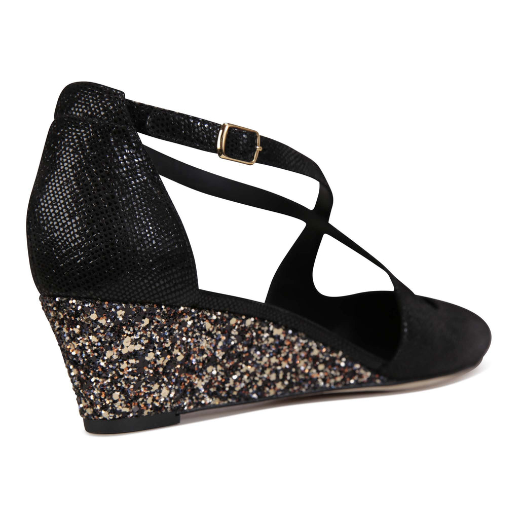 AREZZO - Karung Nero + Glitter Sabbia, VIAJIYU - Women's Hand Made Sustainable Luxury Shoes. Made in Italy. Made to Order.