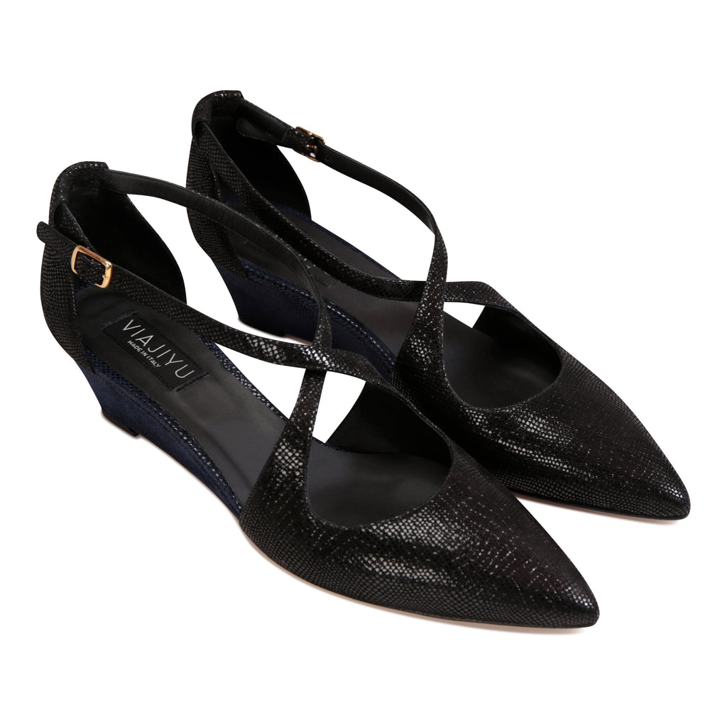 AREZZO - Karung Nero, VIAJIYU - Women's Hand Made Sustainable Luxury Shoes. Made in Italy. Made to Order.