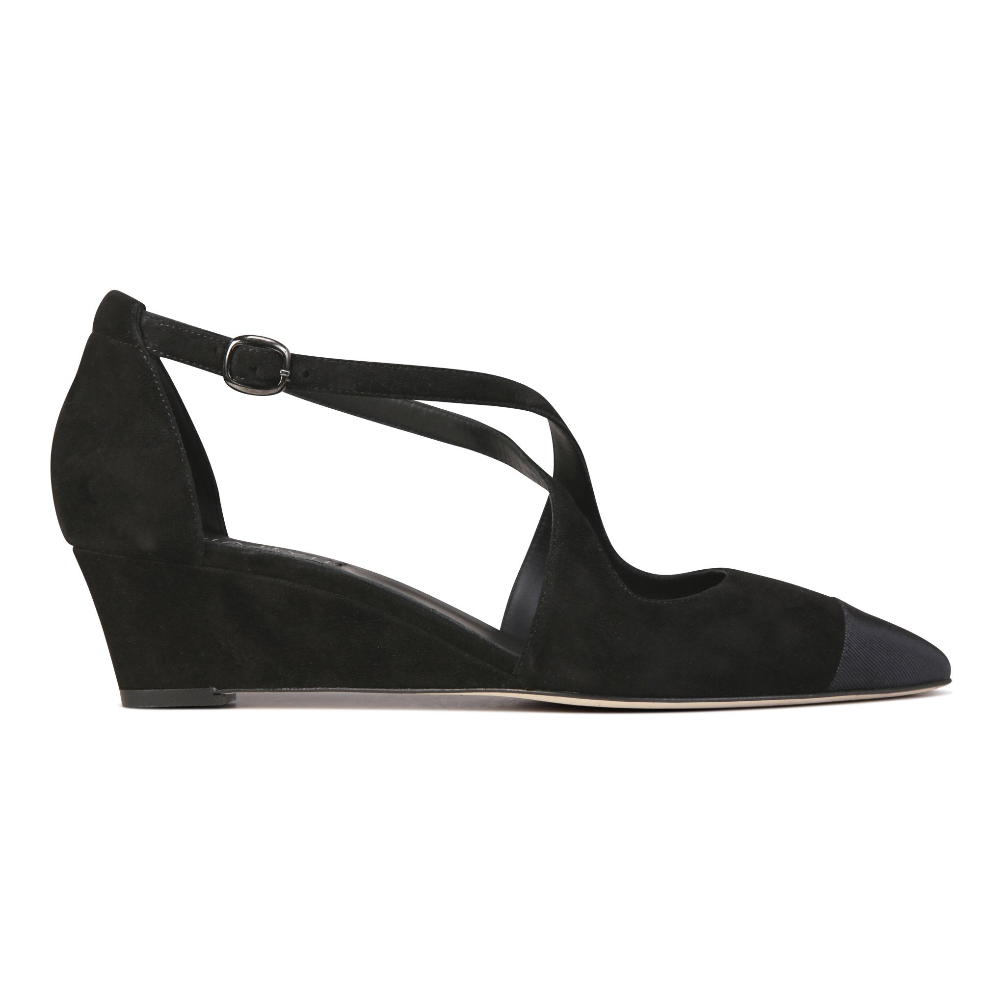 AREZZO - Velukid Nero + Grosgrain Toe, VIAJIYU - Women's Hand Made Sustainable Luxury Shoes. Made in Italy. Made to Order.