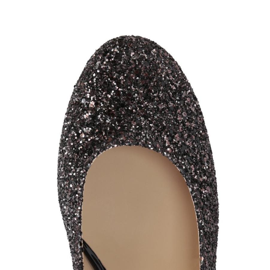 BERGAMO - Glitter Sabbia + Patent Nero, VIAJIYU - Women's Hand Made Sustainable Luxury Shoes. Made in Italy. Made to Order.