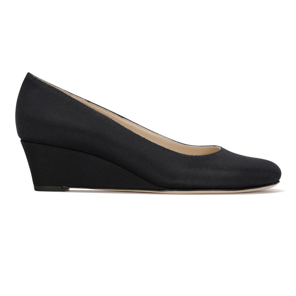 BERGAMO - Grosgrain Nero, VIAJIYU - Women's Hand Made Sustainable Luxury Shoes. Made in Italy. Made to Order.