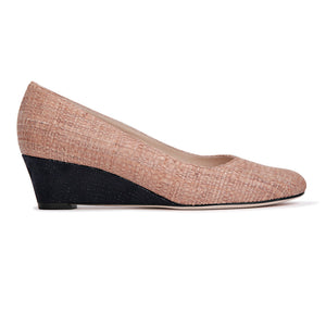 BERGAMO - Raffia Natural + Karung Midnight, VIAJIYU - Women's Hand Made Sustainable Luxury Shoes. Made in Italy. Made to Order.