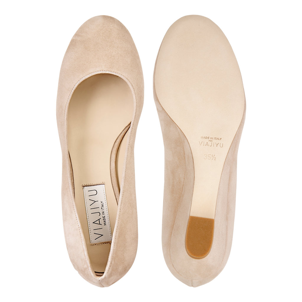 BERGAMO - Velukid Tan, VIAJIYU - Women's Hand Made Sustainable Luxury Shoes. Made in Italy. Made to Order.