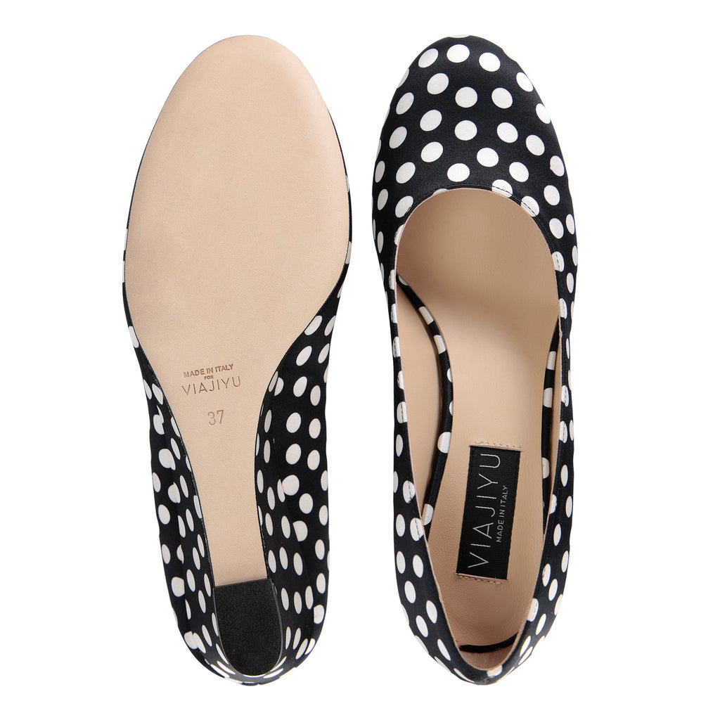 BERGAMO - Satin Black & White Dots, VIAJIYU - Women's Hand Made Sustainable Luxury Shoes. Made in Italy. Made to Order.