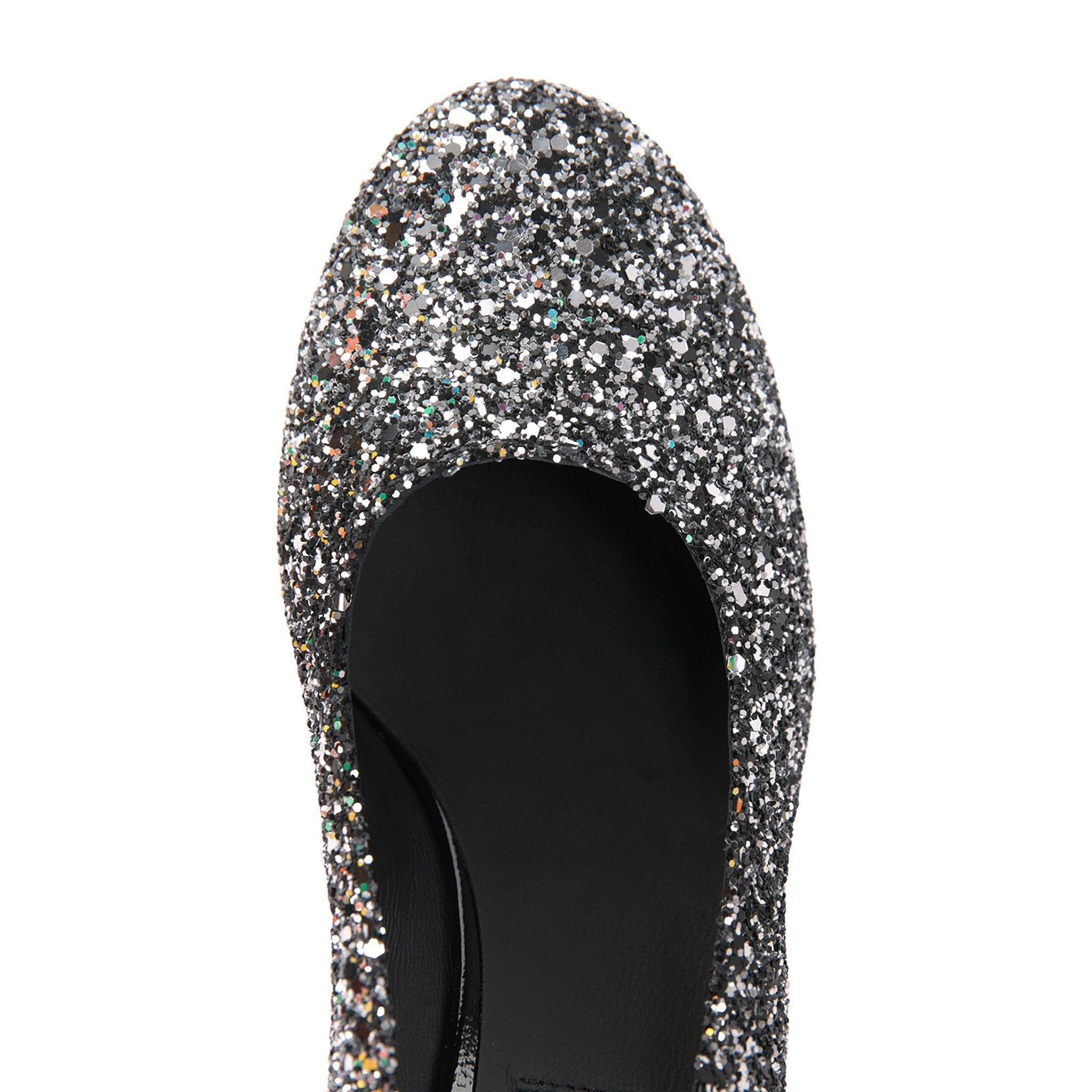 BERGAMO - Glitter Notte + Patent Nero, VIAJIYU - Women's Hand Made Sustainable Luxury Shoes. Made in Italy. Made to Order.