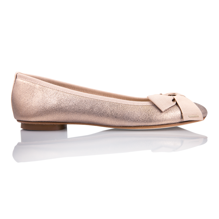 ROMA - Burma Rose Gold + Bow, VIAJIYU - Women's Hand Made Sustainable Luxury Shoes. Made in Italy. Made to Order.