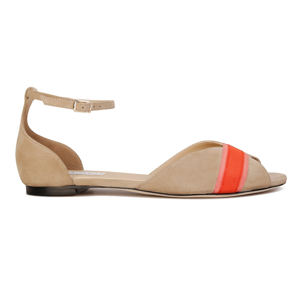 CARRARA - Velukid Tan + Stripe, VIAJIYU - Women's Hand Made Sustainable Luxury Shoes. Made in Italy. Made to Order.