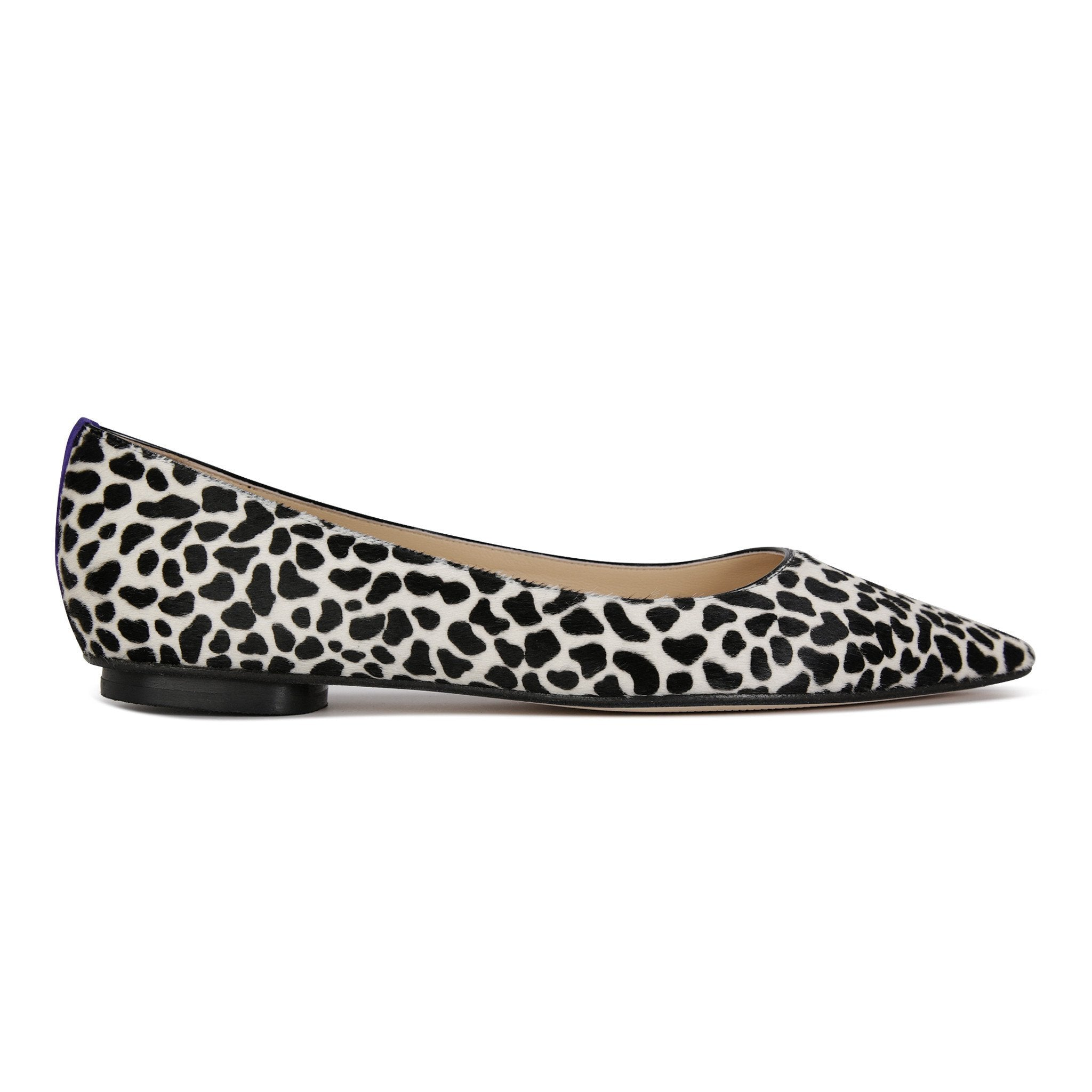 COMO - Calf Hair Dalmation + Velukid Blueberry, VIAJIYU - Women's Hand Made Sustainable Luxury Shoes. Made in Italy. Made to Order.