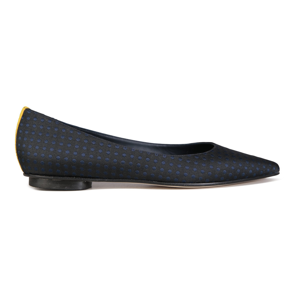 COMO - Textile Polka Dot Midnight + Grosgrain Giallo Back Stripe, VIAJIYU - Women's Hand Made Sustainable Luxury Shoes. Made in Italy. Made to Order.