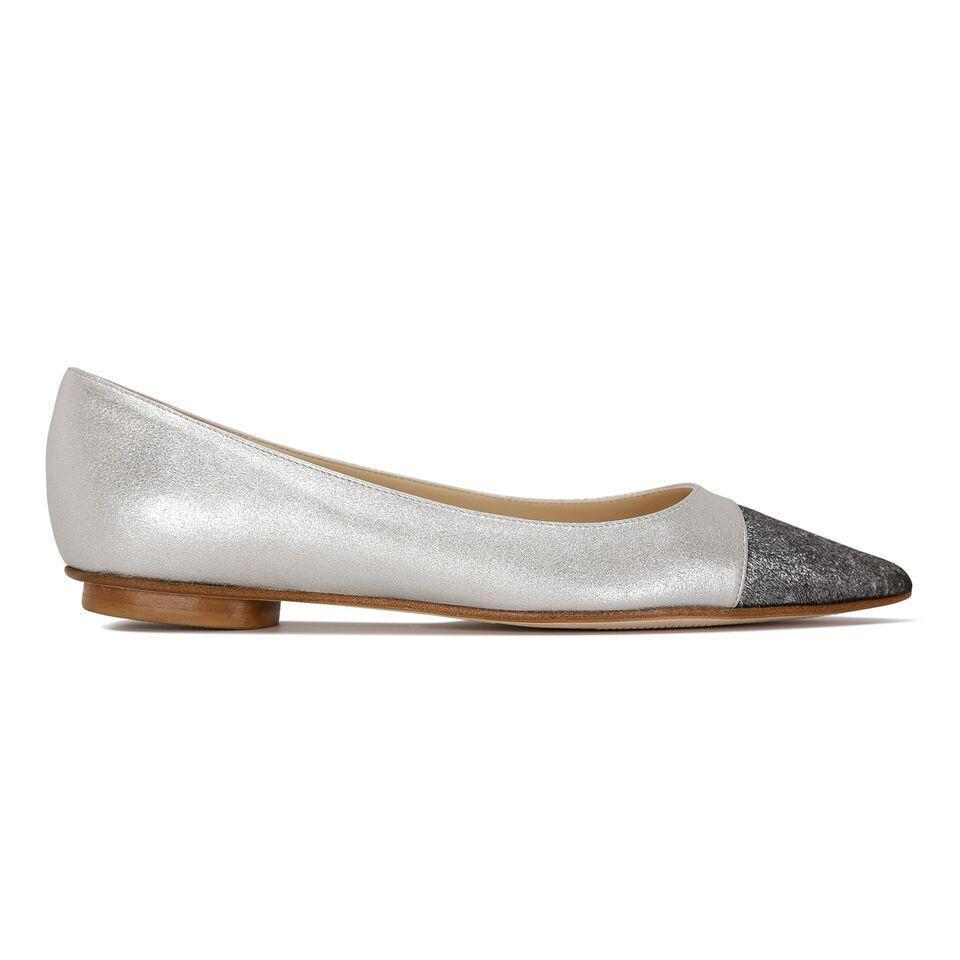 COMO - Burma Argento + Vintage Silver Toe, VIAJIYU - Women's Hand Made Sustainable Luxury Shoes. Made in Italy. Made to Order.