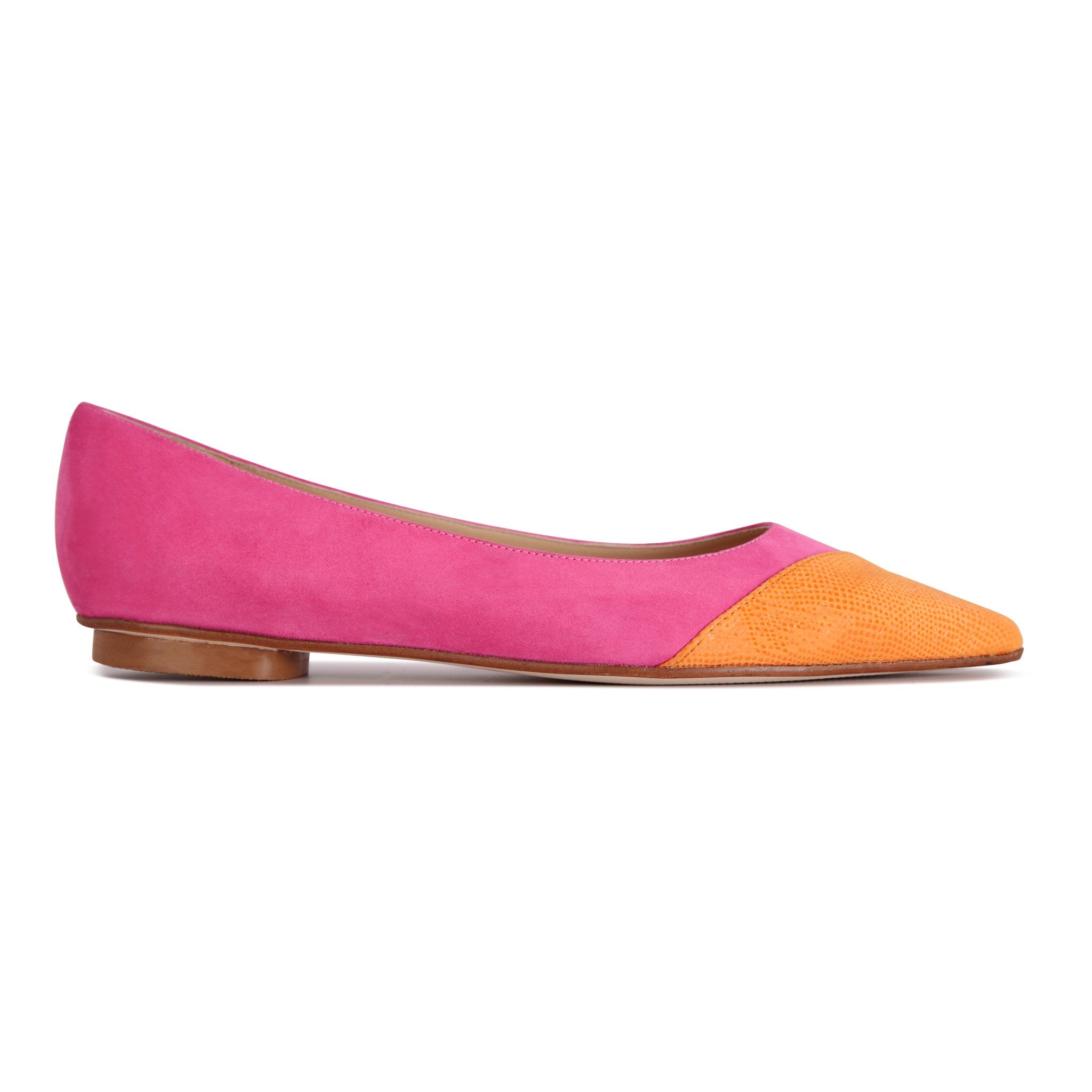 COMO - Hydra Epiphany Pink + Asymmetrical Toe Karung Mandarin, VIAJIYU - Women's Hand Made Sustainable Luxury Shoes. Made in Italy. Made to Order.