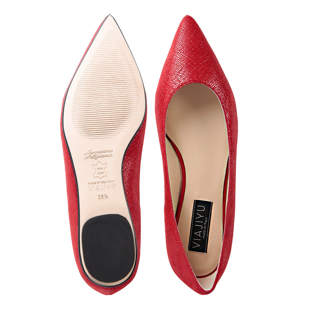 COMO - Karung Rosso, VIAJIYU - Women's Hand Made Sustainable Luxury Shoes. Made in Italy. Made to Order.