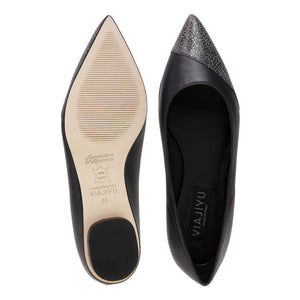 COMO - Nappa Anthracite + Asymmetrical Toe Savannah, VIAJIYU - Women's Hand Made Sustainable Luxury Shoes. Made in Italy. Made to Order.