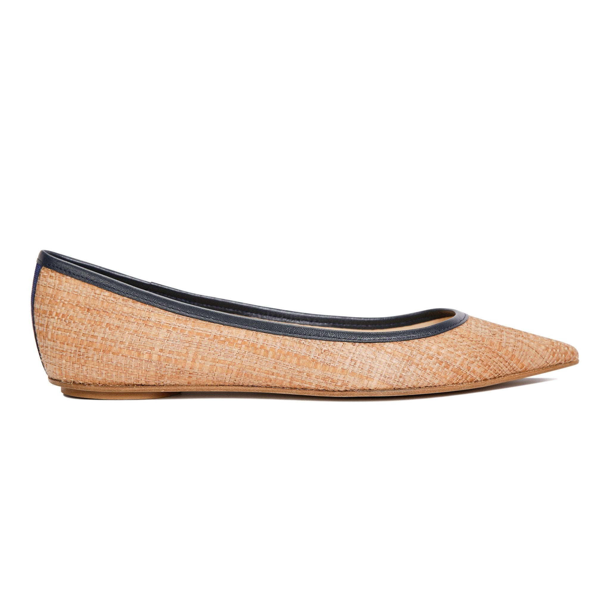 COMO - Natural Raffia + Nappa Navy, VIAJIYU - Women's Hand Made Sustainable Luxury Shoes. Made in Italy. Made to Order.